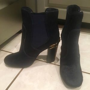Tory Burch Navy Blue Bovine Booties w Gold Detail